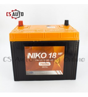 Niko 18 NS70L ( 75D26L ) Car Battery MF for Proton Preve, Toyota Camry, Innova and Estima