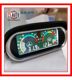 Car Truck Lorry Digital Water Temperature Gauge Voltmeter Meter Lcd Display 12V 24V High Accuracy 10mm sensor 0-120℃ Horizontal 2 in 1