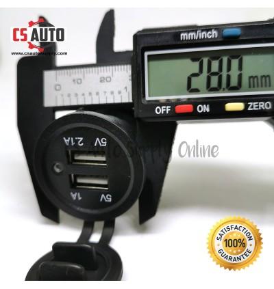 Dual 12V 2 USB Car Truck Cigarette Lighter Socket Charger Plug Power Adapter Outlet