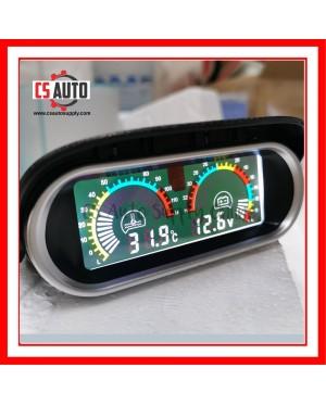 Car Truck Lorry Digital Water Temperature Gauge Voltmeter Meter Lcd Display 12V 24V High Accuracy 16mm sensor 0-120℃ Horizontal 2 in 1