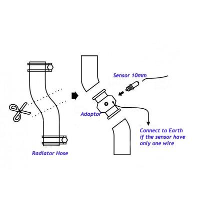 Water Temperature Joint Pipe 40mm Gauge Radiator Hose Adapter Temp Sensor Adaptor