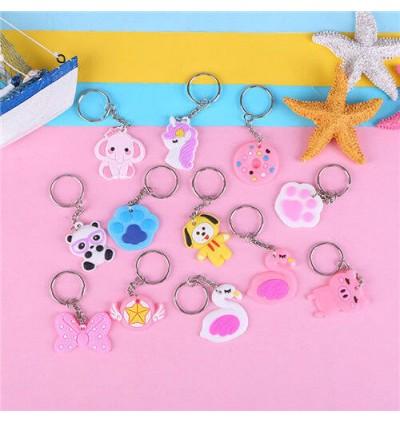 Cute Cartoon Key chain Key Ring PVC Soft Free Gift Door Gift Rantai Kunci Randomly Selected
