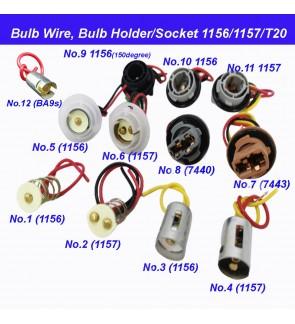 BA9s 1156 1157 T20 7440 7443 Bulb Holder Socket with Adaptor wire harness W21W Metal PVC Plastic (1pc)