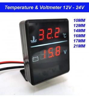 Temperature Gauge Voltmeter Digital Meter Lcd 12V 24V High Accuracy 10mm, 12mm, 14mm, 16mm, 17mm, 21mm sensor Square 2 in 1