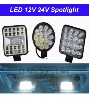 "LED Spotlight Mini 3"" inch 12V 24V Car Driving Fog Light Round Square Bright Working Lamp White Aksesori Lori Truck Trailer"