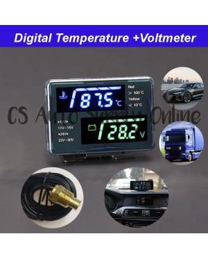 Digital Temperature voltmeter LCD Display 12V 24V Car Truck Lorry Water Gauge Meter High Accuracy 10mm 16mm sensor 0-120℃ 2 in 1