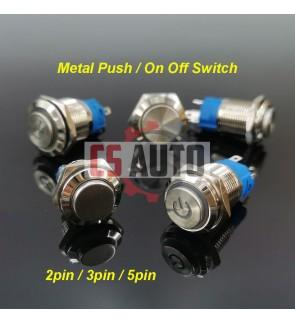 Led Chrome 12V 24V 16mm Push Button On Off Switch Electronic Light Metal Press 2/3/5 pin
