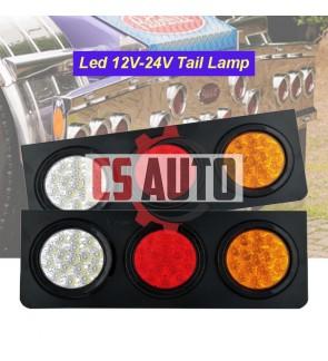 CS LED Tail Lamp Rear Light Red White Yellow metal plate 24v 12V Treler Lampu Belakang Lori Ready Stock (1pc)